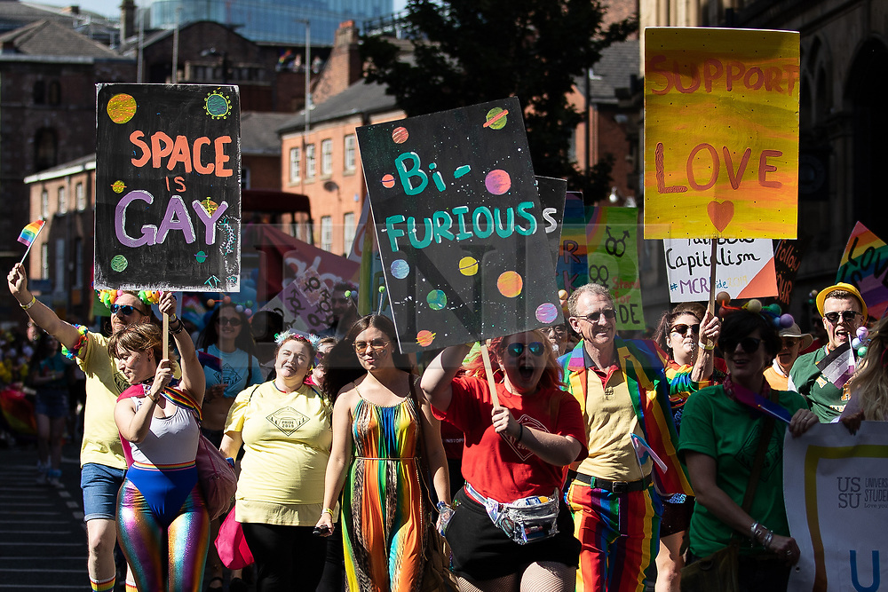 © Licensed to London News Pictures . 24/08/2019. Manchester, UK. The 2019 Manchester Gay Pride parade through the city centre , with a Space and Science Fiction theme . Manchester's Gay Pride festival , which is the largest of its type in Europe , celebrates LGBTQ+ life . Photo credit: Joel Goodman/LNP