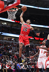 November 3, 2018 - Chicago, IL, USA - Chicago Bulls forward Chandler Hutchison (15) dunks in the second quarter against the Houston Rockets at the United Center Saturday, Nov. 3, 2018, in Chicago. The Rockets beat the Bulls 96-88. (Credit Image: © John J. Kim/Chicago Tribune/TNS via ZUMA Wire)