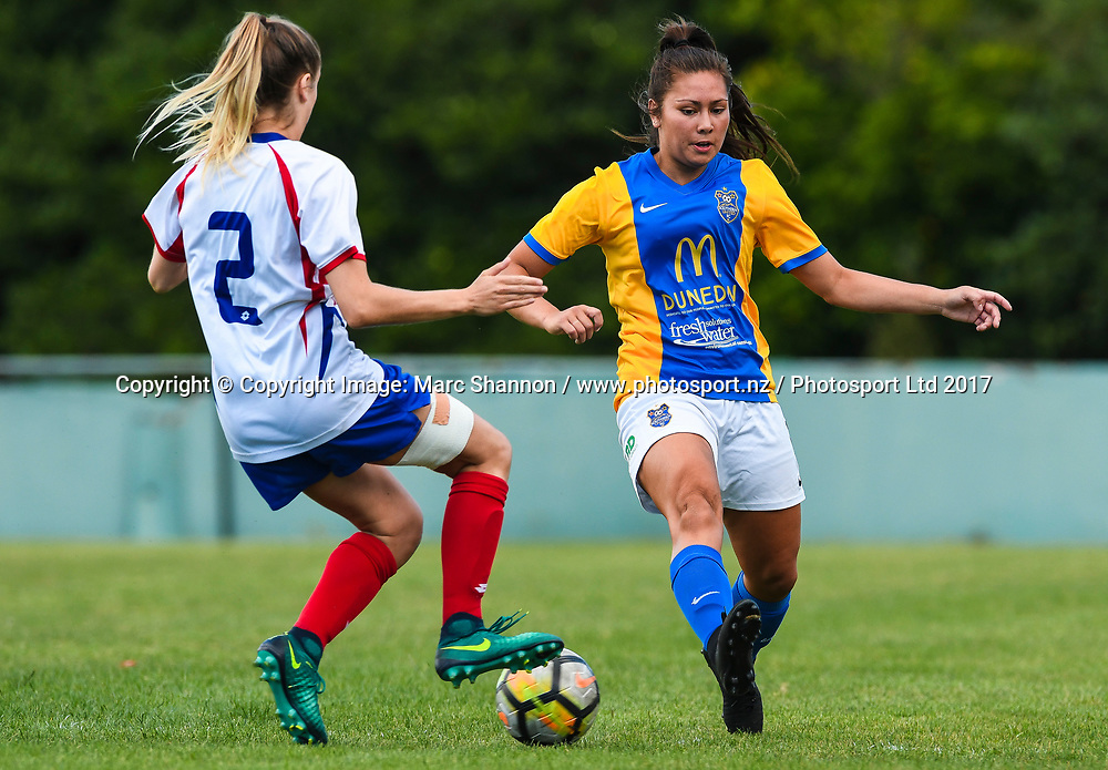 Southern Utd Shontelle Smith looks to intercept Auckland Georgia Brown.<br /> Auckland Football Federation v Southern Utd, National Women's League Premliminary Final, Keith Hay Park, Auckland, New Zealand. 03 December 2017. &copy; Copyright Image: Marc Shannon / www.photosport.nz.