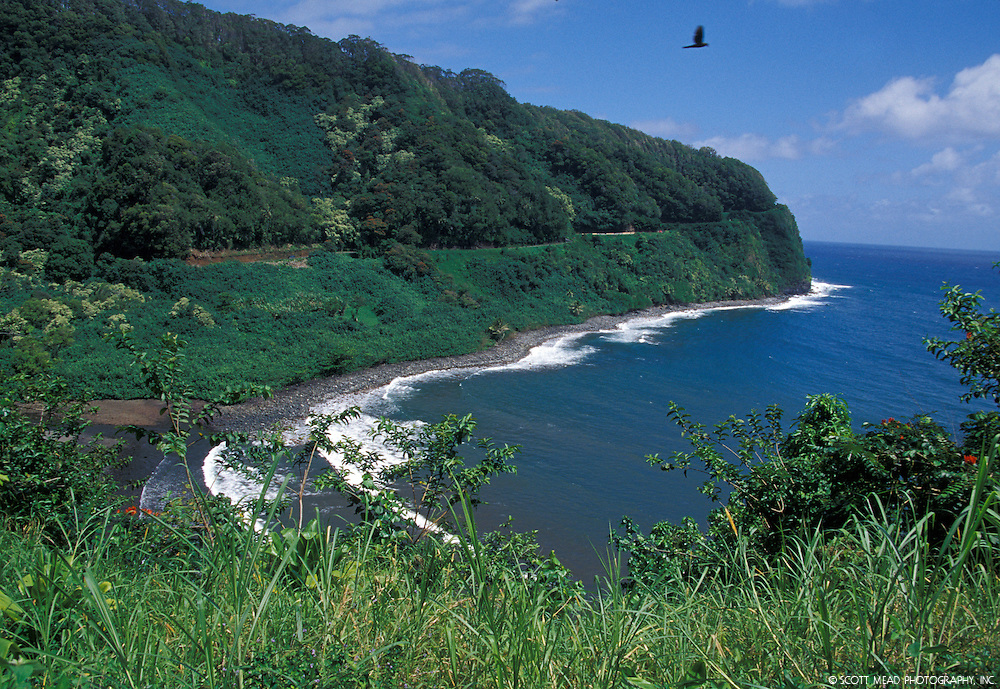 Coastline and cliff near Hana, Maui, Hawaii