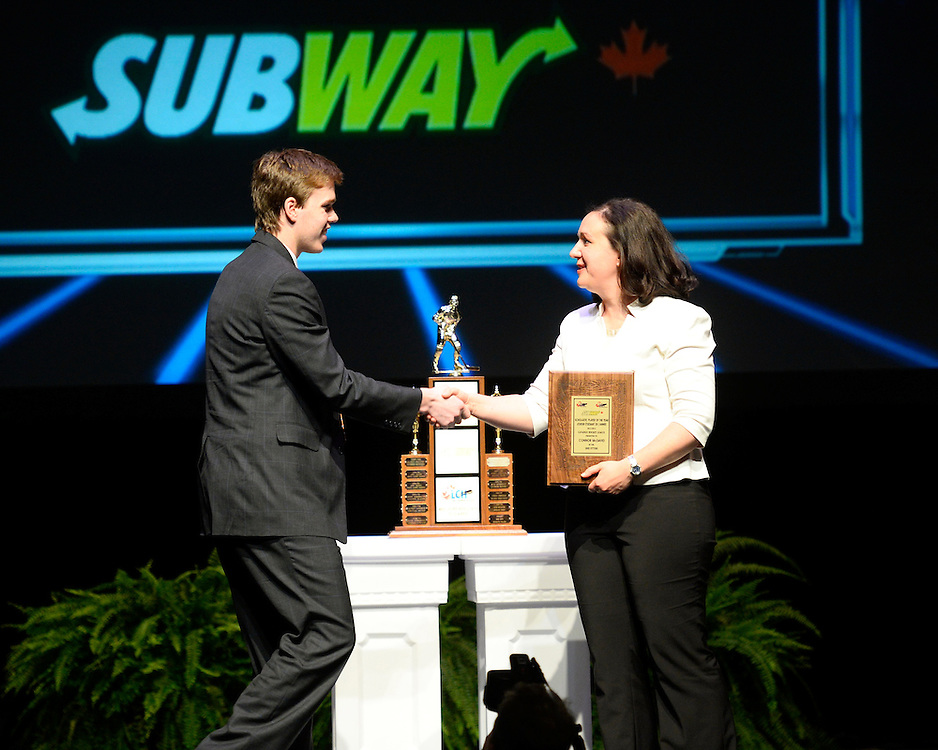 Connor McDavid of the Erie Otters was named the SUBWAY Scholastic Player of the Year at the 2013-14 Canadian Hockey League Awards Ceremony at the Grand Theatre in London, ON on Saturday May 24, 2014. Photo by Aaron Bell/CHL Images