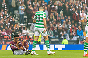 Tom Rogic has a quiet word with Sean Clare of Hearts during the William Hill Scottish Cup Final match between Heart of Midlothian and Celtic at Hampden Park, Glasgow, United Kingdom on 25 May 2019.