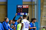 SkyBET electronic board signifying a substitution  during the EFL Sky Bet League 1 match between Gillingham and Coventry City at the MEMS Priestfield Stadium, Gillingham, England on 25 August 2018.