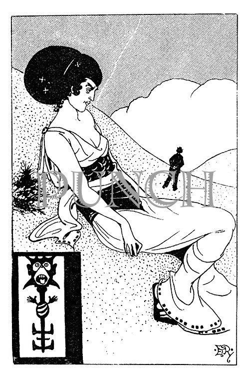 "(a Victorian cartoon shows a woman sitting on a hillside drawn in the style of Aubrey Beardsley. Illustrates ""The Woman Who Wouldn't Do. [She-Note Series]"")"