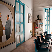 Interior, Casa de Asia, Habana Vieja, Cuba. The painting to the left was a gift from the Korean leader Il Sung Kim to Fidel Castro for his 60th birthday..Photo by Jen Klewitz