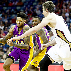 Nov 29, 2016; New Orleans, LA, USA; Los Angeles Lakers forward Brandon Ingram (14) drives past New Orleans Pelicans center Omer Asik (3) during the first quarter of a game at the Smoothie King Center. Mandatory Credit: Derick E. Hingle-USA TODAY Sports