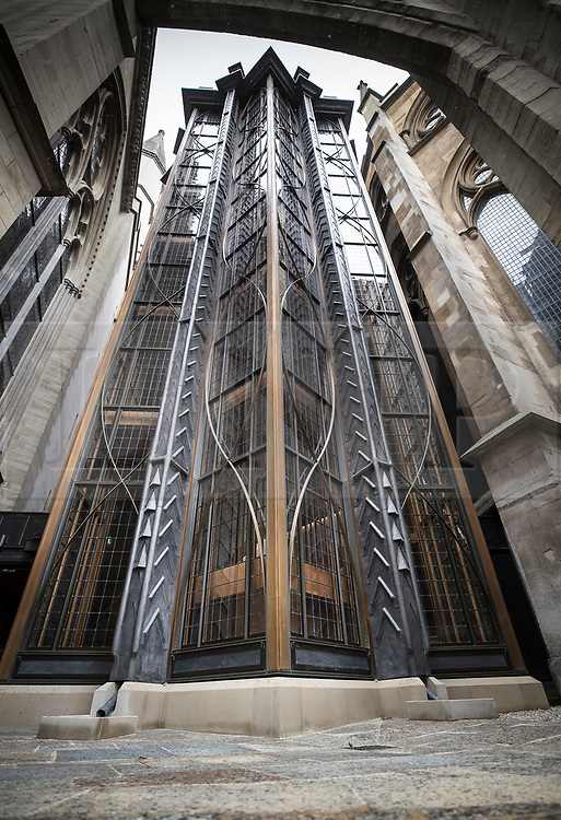 © Licensed to London News Pictures. 29/05/2018. London, UK. The Weston Tower, a new lift and staircase leading to the Queen's Diamond Jubilee Galleries in Westminster Abbey. The wooden model was commissioned by Sir Christopher Wren to explore the feasibility of adding a tower and spire to the abbey. The recently finished galleries situated in 13th century triforium, 52 feet above the abbey floor, will display treasures not seen by the public before and tell the story of abbey's thousand-year history. Photo credit: Peter Macdiarmid/LNP