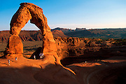 UTAH, ARCHES NATIONAL PARK Delicate Arch, one of the parks most popular hiking destinations and the most beautiful of the park's arches
