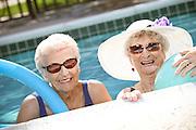 Active Senior Ladies In The Swimming Pool