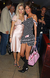Left to right, actress ANOUSKA DE GEORGIOU and model JASMINE LENNARD at fashion label Wheels & Dollbaby's summer party at the Embassy nightclub, Old Burlington Street, London W1 on 19th July 2005.<br /><br />NON EXCLUSIVE - WORLD RIGHTS