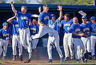 Rob Kerr/The Bulletin<br /> <br /> Bend High reacts to Lava Bear sophmore Chris Zelmer's walk-off grand slam against Hillsboro in the second round of the Oregon Class 5A state baseball playoffs. Bend won 9-8. <br /> <br /> I was sitting outside of the fence near first-base with a 400/2.8 lens on home-plate knowing that the end-of-the-game was going to happen there. I was watching Zelmer as he swung and made a few frames as he had a moment looking like Babe Ruth watching his hit fly deep toward the home-run fence and with the 'action' part of the play already over, I immediately looked for the 'reaction' part of the play at the Lava Bear dugout. The erupting roar from the fans was so loud I could barely concentrate on the leaping teammates in the frame. It was a baseball moment for the ages.