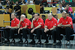 02.09.2014, City Arena, Bilbao, ESP, FIBA WM, USA vs Neuseeland, im Bild USA's coach Mike Krzyzewski with his team // during FIBA Basketball World Cup Spain 2014 match between USA and New Zealand at the City Arena in Bilbao, Spain on 2014/09/02. EXPA Pictures © 2014, PhotoCredit: EXPA/ Alterphotos/ Acero<br /> <br /> *****ATTENTION - OUT of ESP, SUI*****