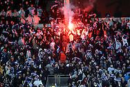 7.11.2011, Olympiastadion, Helsinki..UEFA European Championship 2012 Qualifying match, Finland v Sweden / EM-karsintaottelu Suomi - Ruotsi. .Pohjoiskaarteen fanit ja soihtu...