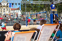 View on main court at Beach Volleyball Challenge Ljubljana 2014, on August 1, 2014 in Kongresni trg, Ljubljana, Slovenia. Photo by Matic Klansek Velej / Sportida.com