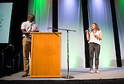 Jason Timpson, Assistant Director of the Ohio First Scholars House, and Michelle Pride, Ph. D., Training Director for Counseling and Psychological Services, tell incoming freshmen what to expect at Ohio University during Bobcat Student Orientation on June 14, 2016. © Ohio University / Photo by Kaitlin Owens