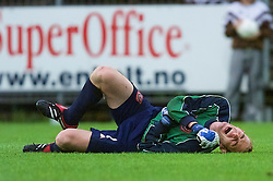 DRAMMEN, NORWAY - Tuesday, September 4, 2001: Wales' goalkeeper David Walsh goes down injured against Norway during the UEFA European Championship qualifying Group 5 match at the Marienlyst Stadion. (Pic by David Rawcliffe/Propaganda)
