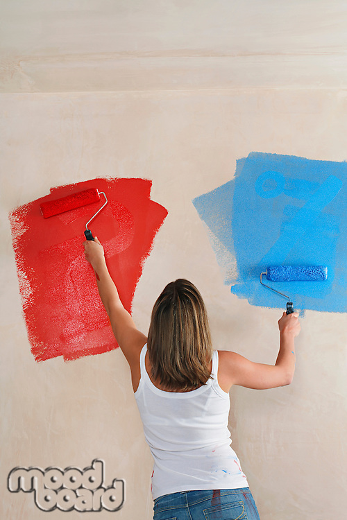 Woman painting wall with paint rollers back view