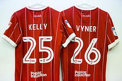 Shirts of Lloyd Kelly and Zak Vyner hang in the Bristol City dressing room - Rogan/JMP - 18/11/2017 - Hillsborough Stadium - Sheffield, England - Sheffield Wednesday v Bristol City - Sky Bet Championship.