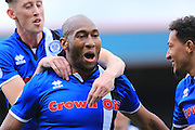 GOAL Calvin Andrew celebrates scoring 2-0 during the EFL Sky Bet League 1 match between Rochdale and Southend United at Spotland, Rochdale, England on 8 October 2016. Photo by Daniel Youngs.