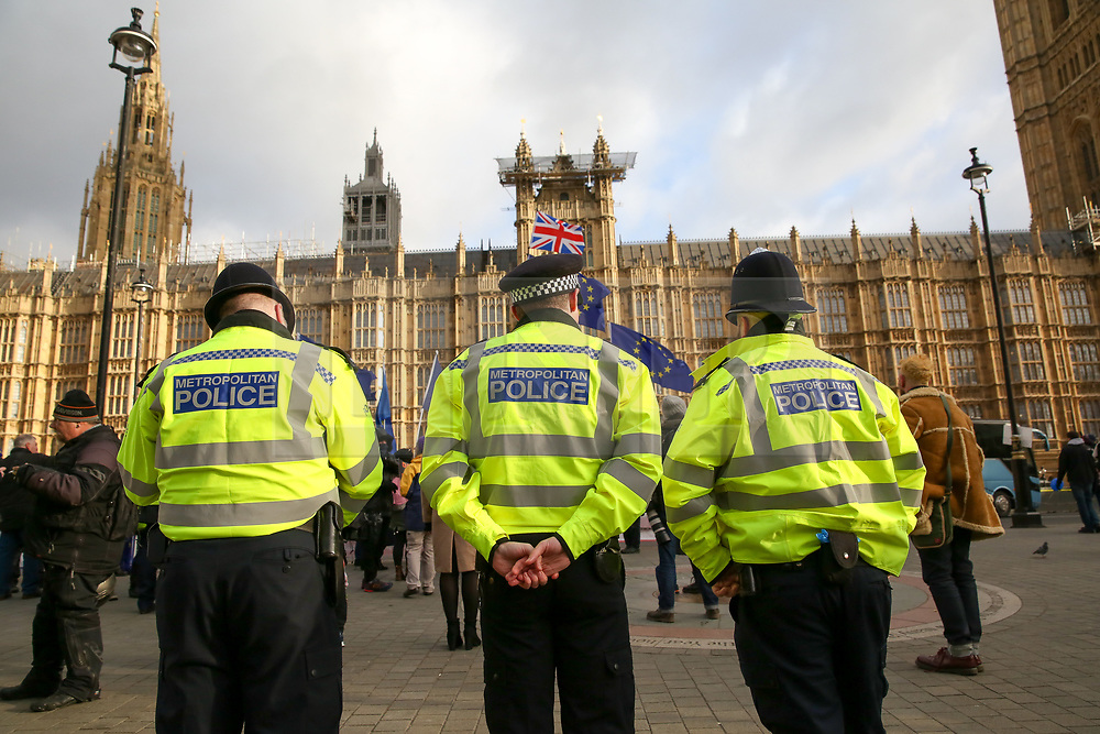 © Licensed to London News Pictures. 09/01/2019. London, UK. Increased number of police officers outside the Houses of Parliament as anti-Brexit and pro-Brexit demonstrators protest as the Meaningful Vote debate. At the end of the five day debate the MPs will vote on Prime Minister, Theresa May's Brexit deal. Photo credit: Dinendra Haria/LNP