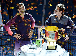 BEIJING, Oct. 9, 2016  Andy Murray (R) of Britain and Grigor Dimitrov of Bulgaria attend the awarding ceremony for the men's singles final at the China Open tennis tournament in Beijing, capital of China, Oct. 9, 2016. Murray claimed the title of the event after beating Dimitrov 2-0. (Credit Image: © Zhang Chenlin/Xinhua via ZUMA Wire)