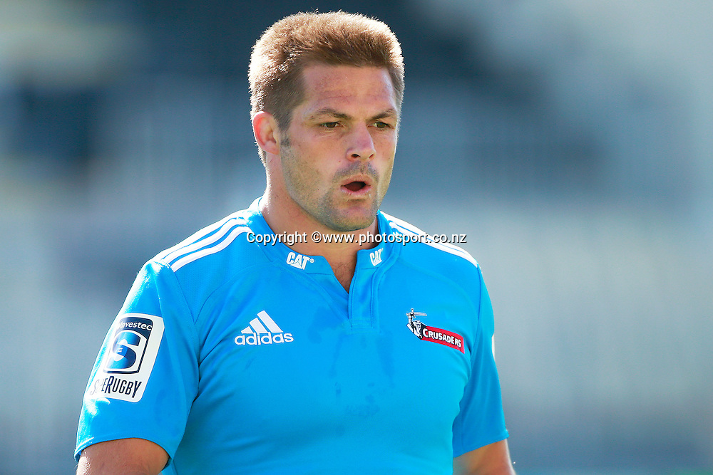 Richie McCaw of the Crusaders during a captains run training session held at AMI Stadium, Christchurch. 12 February 2015 Photo: Joseph Johnson / www.photosport.co.nz