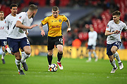 Scot Bennett of Newport County heads upfield during the The FA Cup fourth round replay match between Tottenham Hotspur and Newport County at Wembley Stadium, London, England on 6 February 2018. Picture by Toyin Oshodi.