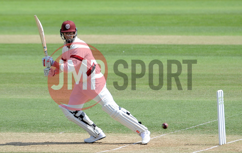 Somerset's Marcus Trescothick cuts the ball. - Photo mandatory by-line: Harry Trump/JMP - Mobile: 07966 386802 - 15/06/15 - SPORT - CRICKET - LVCC County Championship - Division One - Day Two - Somerset v Nottinghamshire - The County Ground, Taunton, England.