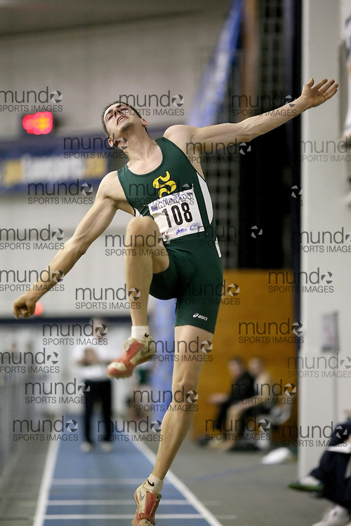 Windsor, Ontario ---12/03/09--- Pierre Puyjalon of  Universite de Sherbrooke competes in the Men's Pentathlon Long Jump at the CIS track and field championships in Windsor, Ontario, March 12, 2009..Sean Burges Mundo Sport Images