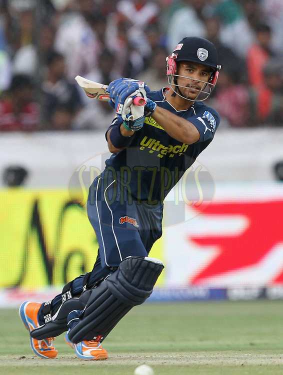JP Duminy of DC plays a shot during match 53 of the Indian Premier League ( IPL ) between the Deccan Chargers and the Pune Warriors India held at the Rajiv Gandhi International Cricket Stadium in Hyderabad on the 10th May 2011..Photo by Prashant Bhoot/BCCI/SPORTZPICS