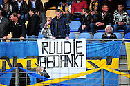 Onderwerp/Subject: RKC Waalwijk - Eredivisie<br /> Reklame:  <br /> Club/Team/Country: RKC Waalwijk<br /> Seizoen/Season: 2011/2012<br /> FOTO/PHOTO: Coach Ruud BROOD (NOT ON PHOTO) of RKC Waalwijk saying farewell with banners of supporters. (Photo by PICS UNITED)<br /> <br /> Trefwoorden/Keywords: <br /> #09 $94 ±1324456815774<br /> Photo- & Copyrights © PICS UNITED <br /> P.O. Box 7164 - 5605 BE  EINDHOVEN (THE NETHERLANDS) <br /> Phone +31 (0)40 296 28 00 <br /> Fax +31 (0) 40 248 47 43 <br /> http://www.pics-united.com <br /> e-mail : sales@pics-united.com (If you would like to raise any issues regarding any aspects of products / service of PICS UNITED) or <br /> e-mail : sales@pics-united.com   <br /> <br /> ATTENTIE: <br /> Publicatie ook bij aanbieding door derden is slechts toegestaan na verkregen toestemming van Pics United. <br /> VOLLEDIGE NAAMSVERMELDING IS VERPLICHT! (© PICS UNITED/Naam Fotograaf, zie veld 4 van de bestandsinfo 'credits') <br /> ATTENTION:  <br /> © Pics United. Reproduction/publication of this photo by any parties is only permitted after authorisation is sought and obtained from  PICS UNITED- THE NETHERLANDS