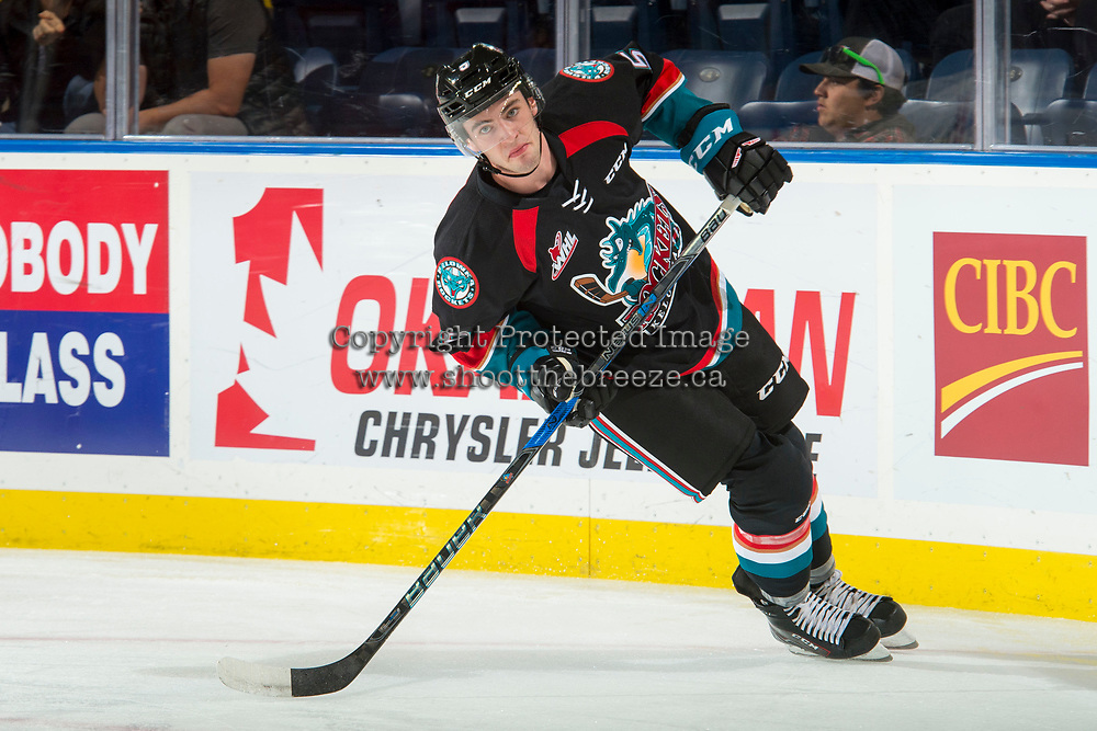 KELOWNA, CANADA - SEPTEMBER 22: Konrad Belcourt #5 of the Kelowna Rockets warms up against the Kamloops Blazers on September 22, 2017 at Prospera Place in Kelowna, British Columbia, Canada.  (Photo by Marissa Baecker/Shoot the Breeze)  *** Local Caption ***