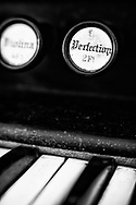 Close-up of Perfection pull on Williams Pipe Tone organ at Tankard Church, Yeatsville, NC, with Lensbaby Velvet 56