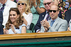 © Licensed to London News Pictures. 14/07/2019. London, UK. The Duchess of Cambridge (L) and The Duke of Cambridge (R) watch the centre court mens singles finals of the Wimbledon Tennis Championships 2019 on on Day 13 held at the All England Lawn Tennis and Croquet Club. Photo credit: Ray Tang/LNP