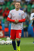 England Forward Wayne Rooney in warm up during the Euro 2016 Group B match between Slovakia and England at Stade Geoffroy Guichard, Saint-Etienne, France on 20 June 2016. Photo by Phil Duncan.