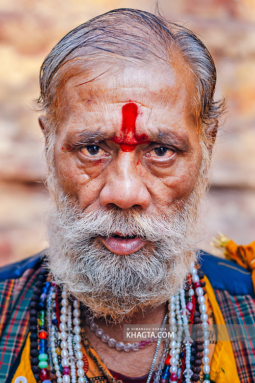 Portrait of a Hindu Sadhu in Mathura. Mathura is a sacred town situated on the banks of Yahuman river in Uttar Pradesh, northern India. The birthplace of the deity Lord Krishna. It is a pilgrimage site for Hindus.