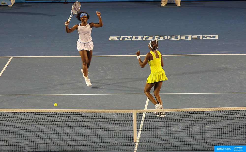 Venus and Serena Williams of USA winning the Women's doubles final defeating Daniela Hantuchova and Ai Sugiyama in straight sets at the Australian Tennis Open on January 30, 2009 in Melbourne, Australia. Photo Tim Clayton    .