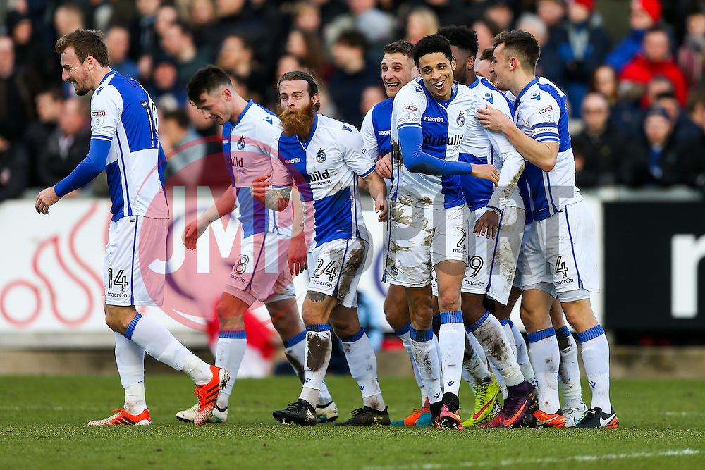 Daniel Leadbitter is all smiles as Billy Bodin of Bristol Rovers celebrates scoring a goal to make it 1-0 - Rogan Thomson/JMP - 28/01/2017 - FOOTBALL - Memorial Stadium - Bristol, England - Bristol Rovers v Swindon Town - Sky Bet League One.