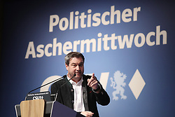 06.03.2019, Dreiländerhalle, Passau, GER, Politischer Aschermittwoch der CSU, im Bild Ministerpräsident Markus Söder spricht // during the Political Ash Wednesday of the CSU Party at the Dreiländerhalle in Passau, Germany on 2019/03/06. EXPA Pictures © 2019, PhotoCredit: EXPA/ SM<br /> <br /> *****ATTENTION - OUT of GER*****