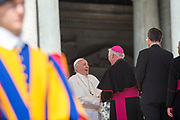 May 10, 2017: Pope Francis greets bishops and cardinals during his weekly general audience in St. Peter square at the Vatican. Antoine Mekary   Aleteia   I.Media