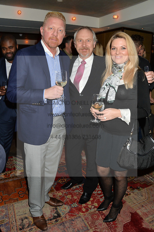 Left to right, BORIS BECKER, MARK COWNE and GINA COWNE at a reception to celebrate the publication of The Shadow of The Crescent Moon by Fatima Bhutto at the Belgraves Hotel, 20 Chesham Place, London, on 2nd December 2013.