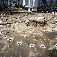 Remnants of the  post holes from an ancient dwelling in the Tequesta archaeology site at the Met Square development,  downtown Miami. Site managed by Archaeological and Historical Conservancy (AHC).