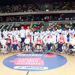 team GB pose with GB wheelchair basketball team plays exhibition match against Help for Heros at the Copper Box Arena. 11/08/2013 (c) MATT BRISTOW