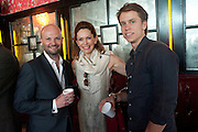 MAGNUS RENFREW; MONIQUE BURGER; YVES BURGER, Brunch to celebrate the launch of Art HK 11. Miss Yip Chinese Cafe. Meridian ave,  Miami Beach. 3 December 2010. -DO NOT ARCHIVE-© Copyright Photograph by Dafydd Jones. 248 Clapham Rd. London SW9 0PZ. Tel 0207 820 0771. www.dafjones.com.