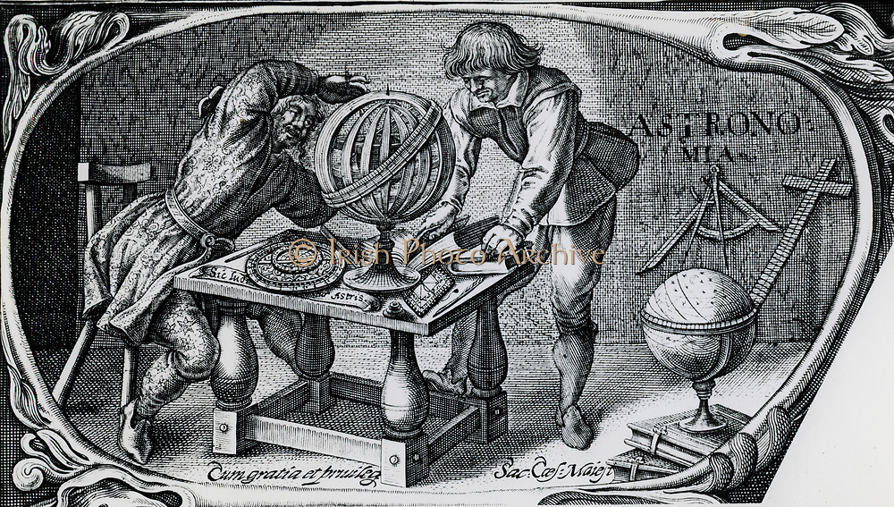 Astronomers and various instruments including, on table,  an astrolabe and an armillary sphere. Wood engraving, 1650.