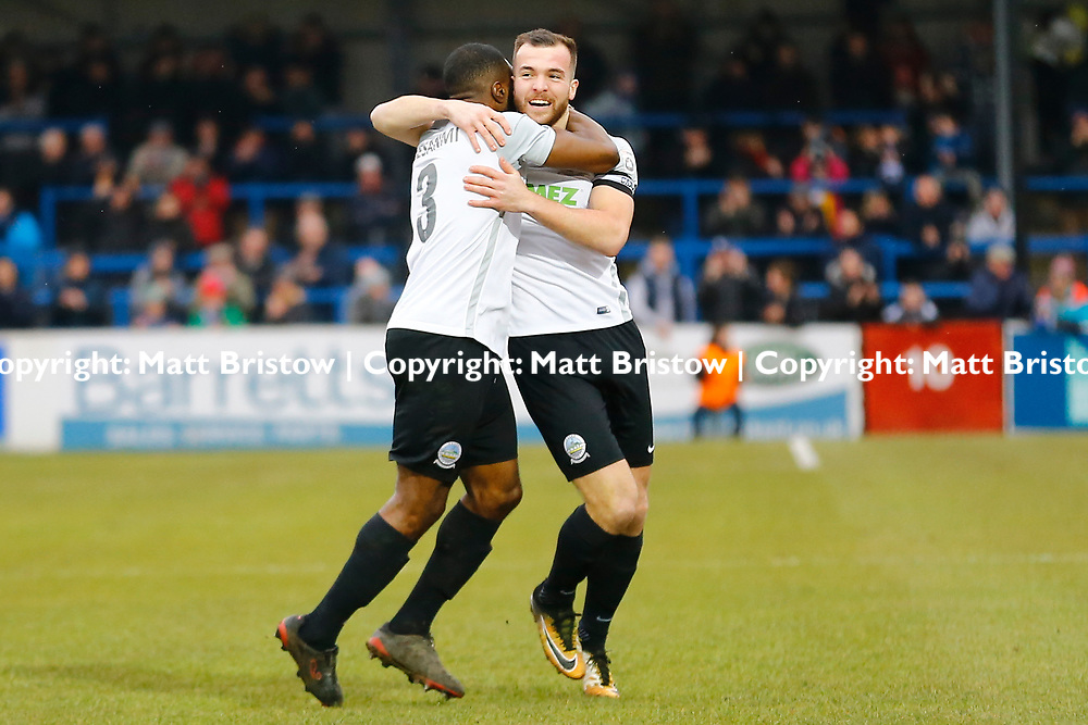 Dover's defender Femi Ilesanmi rushes to congratulate Dover's midfielder Mitch Brundle on scoring Dovers first goal during the Vanorama National League match between Dover Athletic and Guiseley at Crabble Stadium, London, England on 27 January 2018. Photo by Matt Bristow.