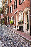 The famous cobbled street Beacon Hill in the historic district of Boston, Massachusetts at night, USA
