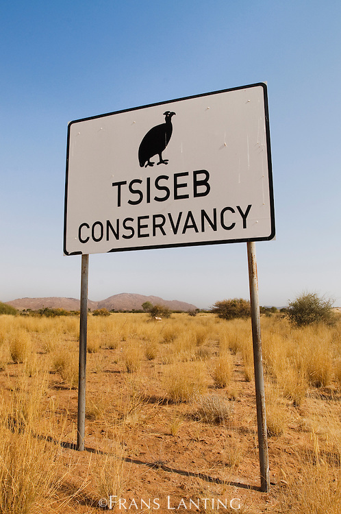 Sign for Tsiseb Conservancy, Damaraland, Namibia