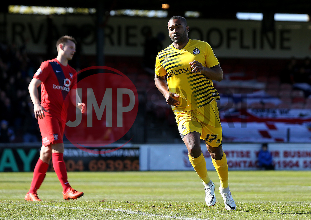 Jermaine Easter of Bristol Rovers celebrates scoring a goal - Mandatory by-line: Robbie Stephenson/JMP - 30/04/2016 - FOOTBALL - Bootham Crescent - York, England - York City v Bristol Rovers - Sky Bet League Two