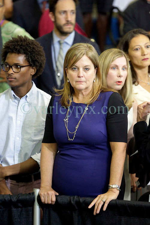 27 August 2015. Andrew P. Sanchez & Copelin-Byrd Multi Service Center, Lower 9th Ward, New Orleans, Louisiana.<br /> Cheryl Quirk, wife of Mayor Mitch Landrieu lat the event before President Barack Obama speaks. <br /> Photo credit©; Charlie Varley/varleypix.com.